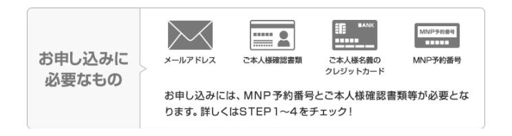 UQモバイル申し込みに必要なものの画像